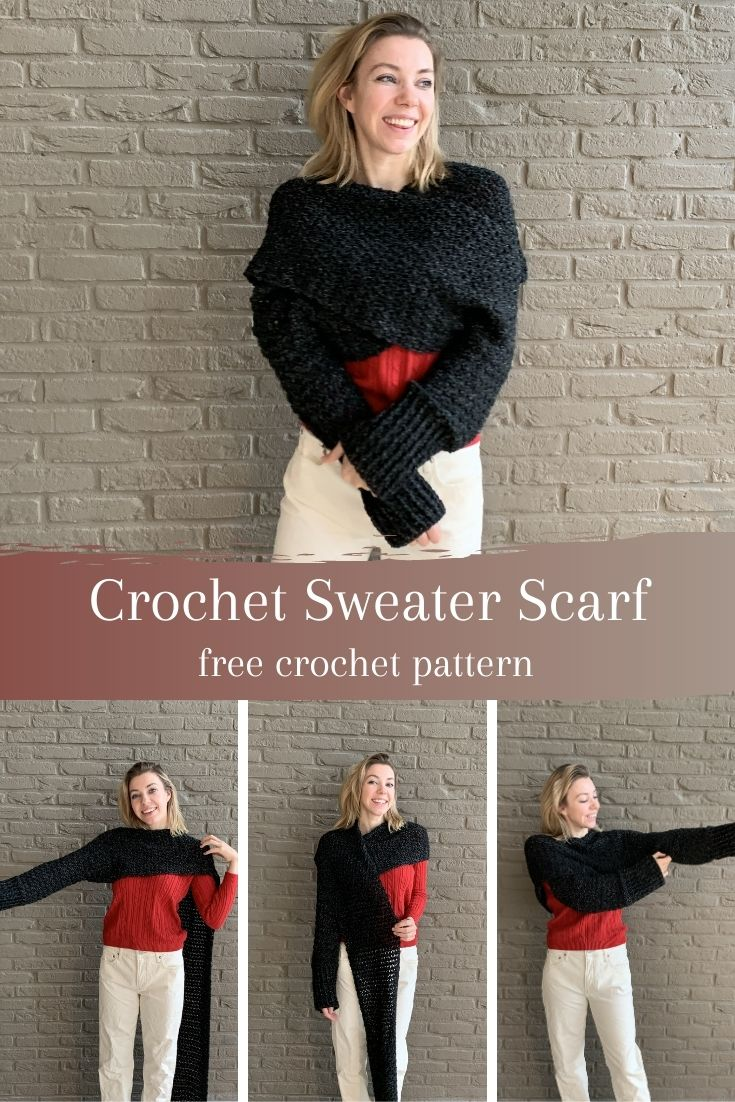 Crochet Sweater Scarf with lionbrand Jeans pinterest pin