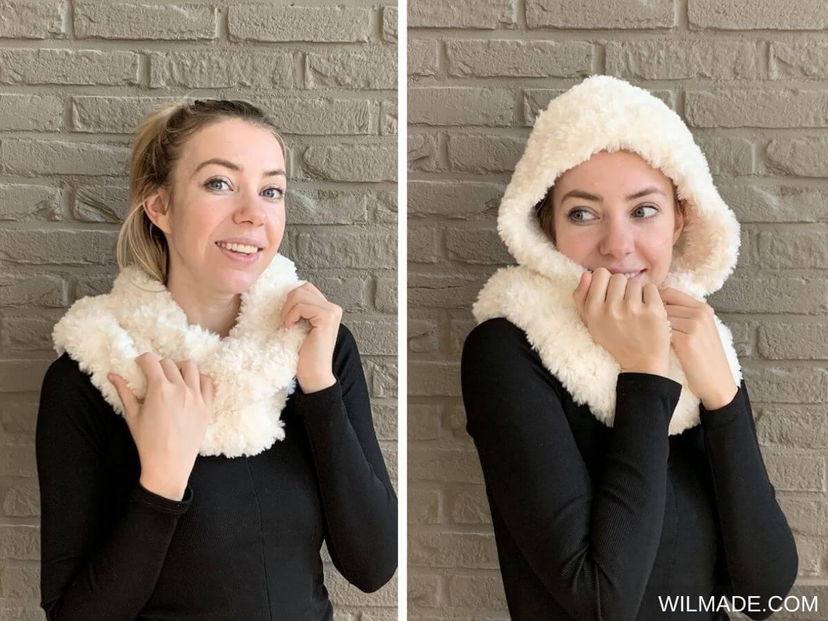 Faux fur hooded infinity scarf with Lionbrand Faux fur yarn Go For Faux and Katia Polar