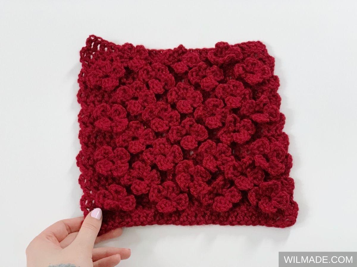 Vela Flower Square red - free crochet pattern afghan granny square