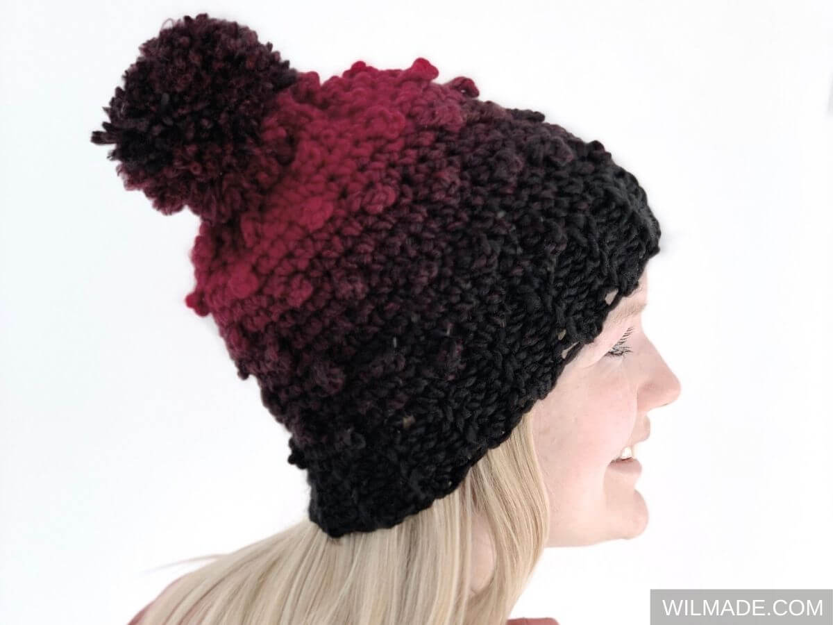 Very berry beanie - free crochet pattern with crochet berry stitch - hat beanie with Lionbrand Scarfie yarn