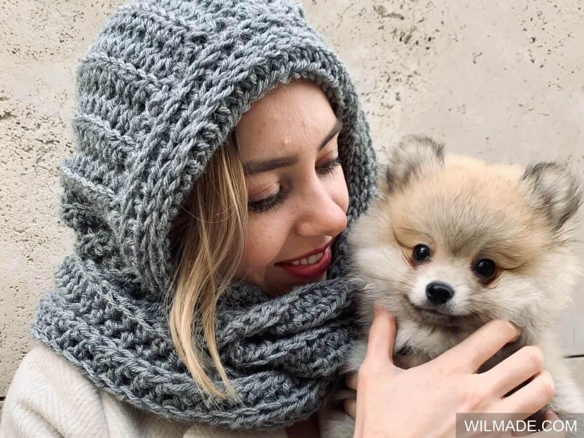 Hooded Alpa Scarf - free crochet pattern with pomeranian puppy dog modelling