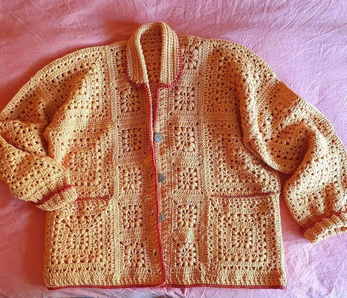 Crochet granny square cardigan made by mumski_34 - free crochet pattern by Wilmade