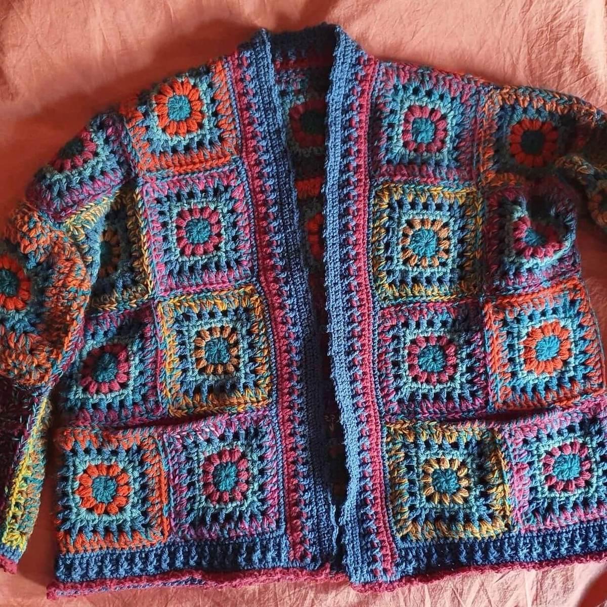 Crochet scrap yarn granny square cardigan made by mumski_34 - free crochet pattern by Wilmade
