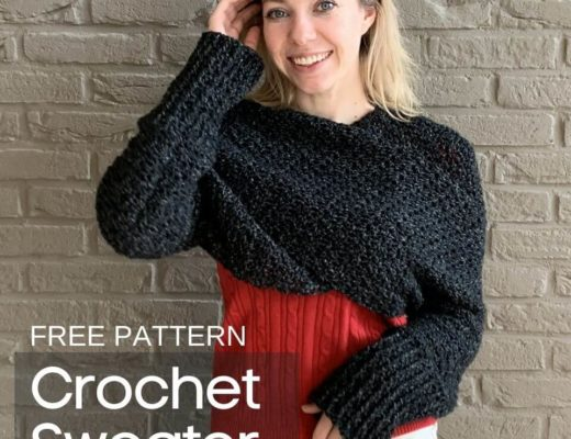 Google Web Story Poster - Crochet Sweater Scarf - Free Crochet Pattern