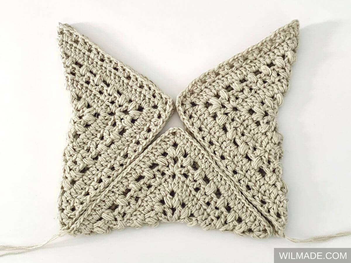 How to transform 3 granny squares into a bag