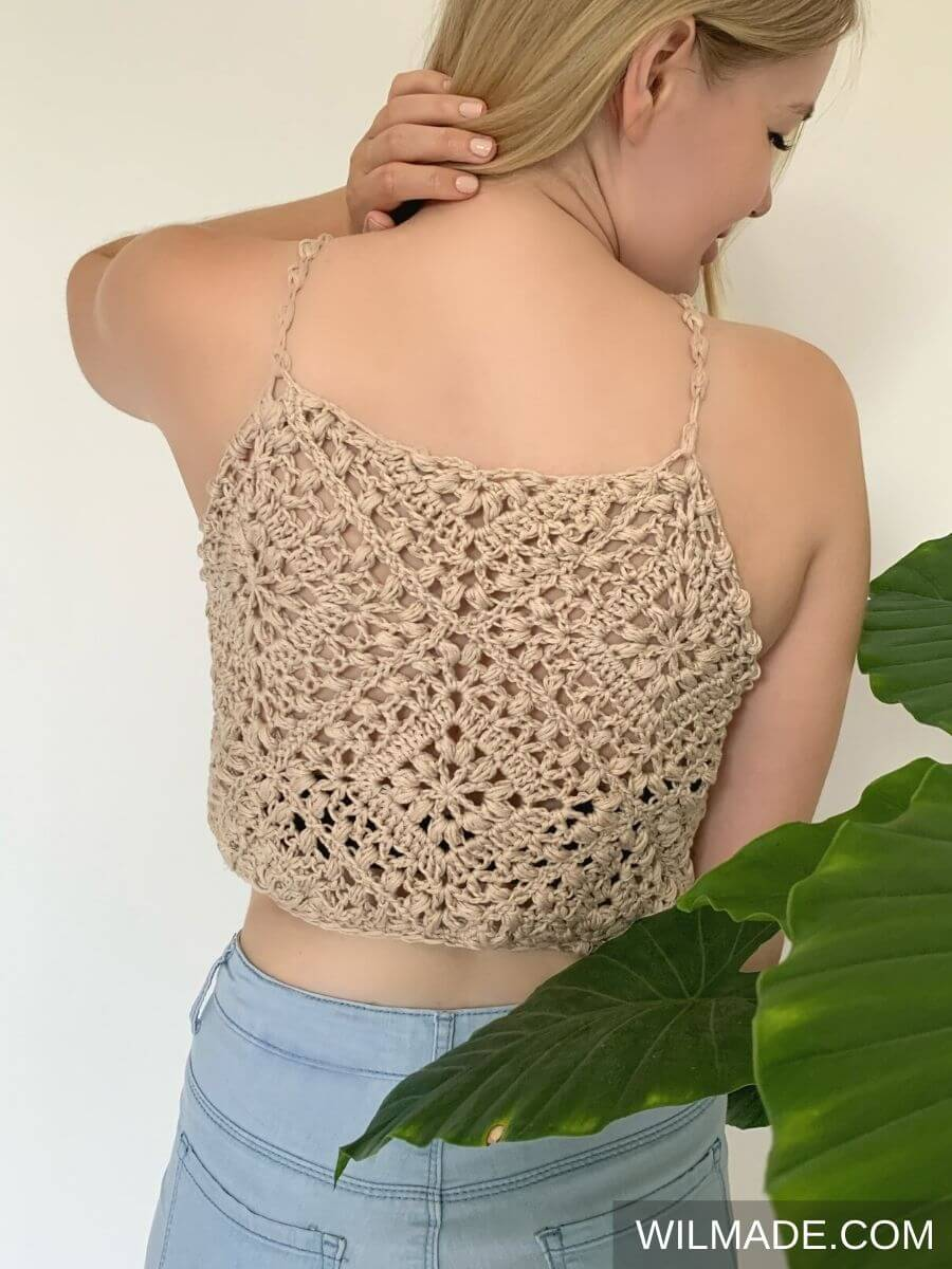 Tulip Crochet Granny Square Crop Top - free crochet pattern in size S-5XL - back view