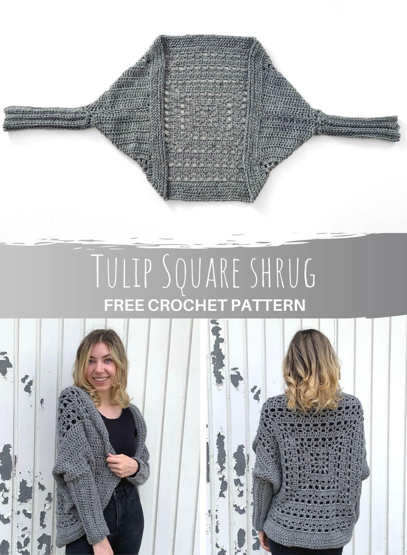 Tulip Square Shrug - free crochet pattern - pinterest pin