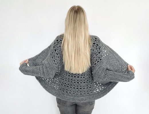 Tulip granny square shrug - free crochet pattern size S-5XL